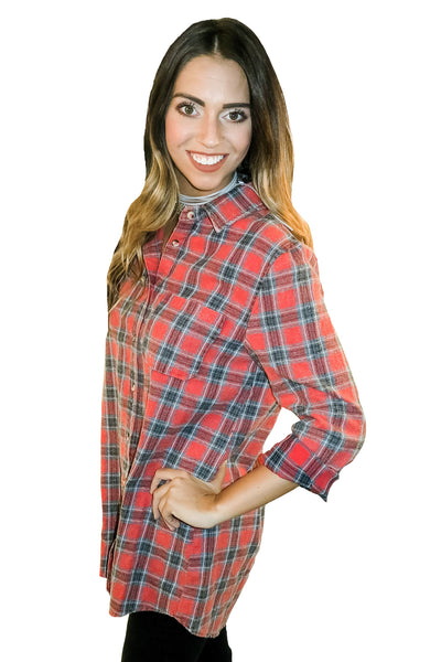 Firepit Fabulous Plaid Tunic In Red