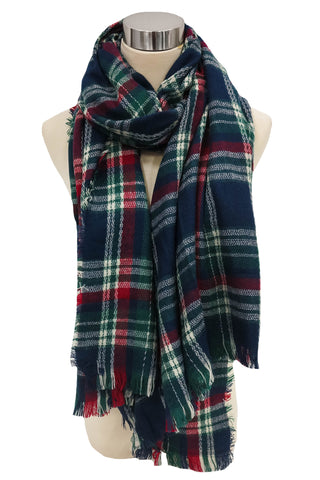 Sweet and Tartan Blanket Scarf in Navy