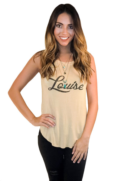 Louise Graphic Tank In Mustard