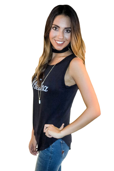 Thelma Graphic Tank In Dark Navy