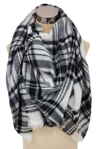 Lock And Key Blanket Scarf In Navy and White