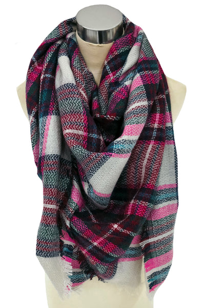 Truly Chilly Blanket Scarf In Taupe and Magenta
