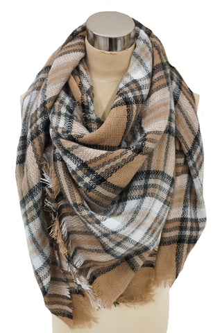 I Flaunt To Get Away Blanket Scarf In Taupe and Black