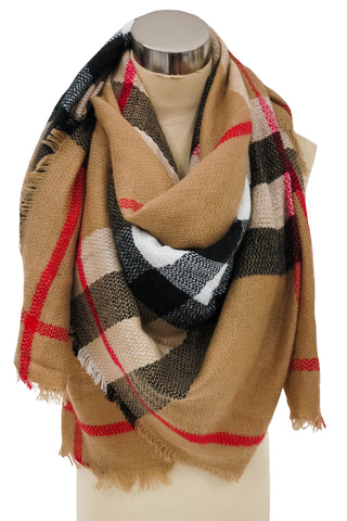 Adornment Development Blanket Scarf In Taupe and Black