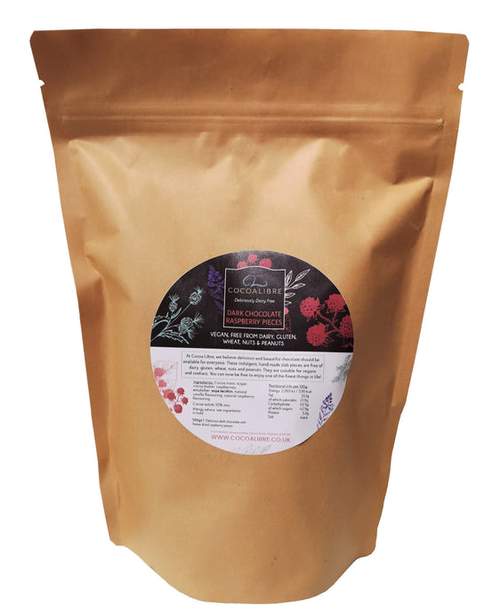 Raspberry Dark Chocolate Broken Pieces bag | 500g Dairy Free Vegan