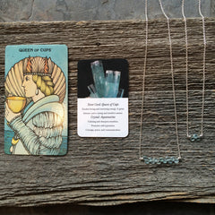 Three of Cups // Queen Of Cups Tarot Necklace Aquamarine Crystal