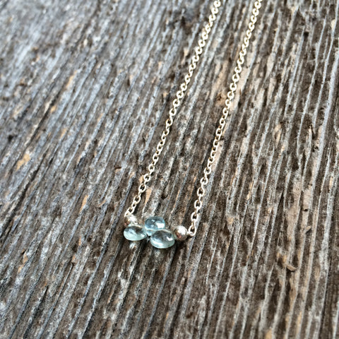 Queen Of Cups Tarot Necklace Aquamarine Crystal by Three of Cups