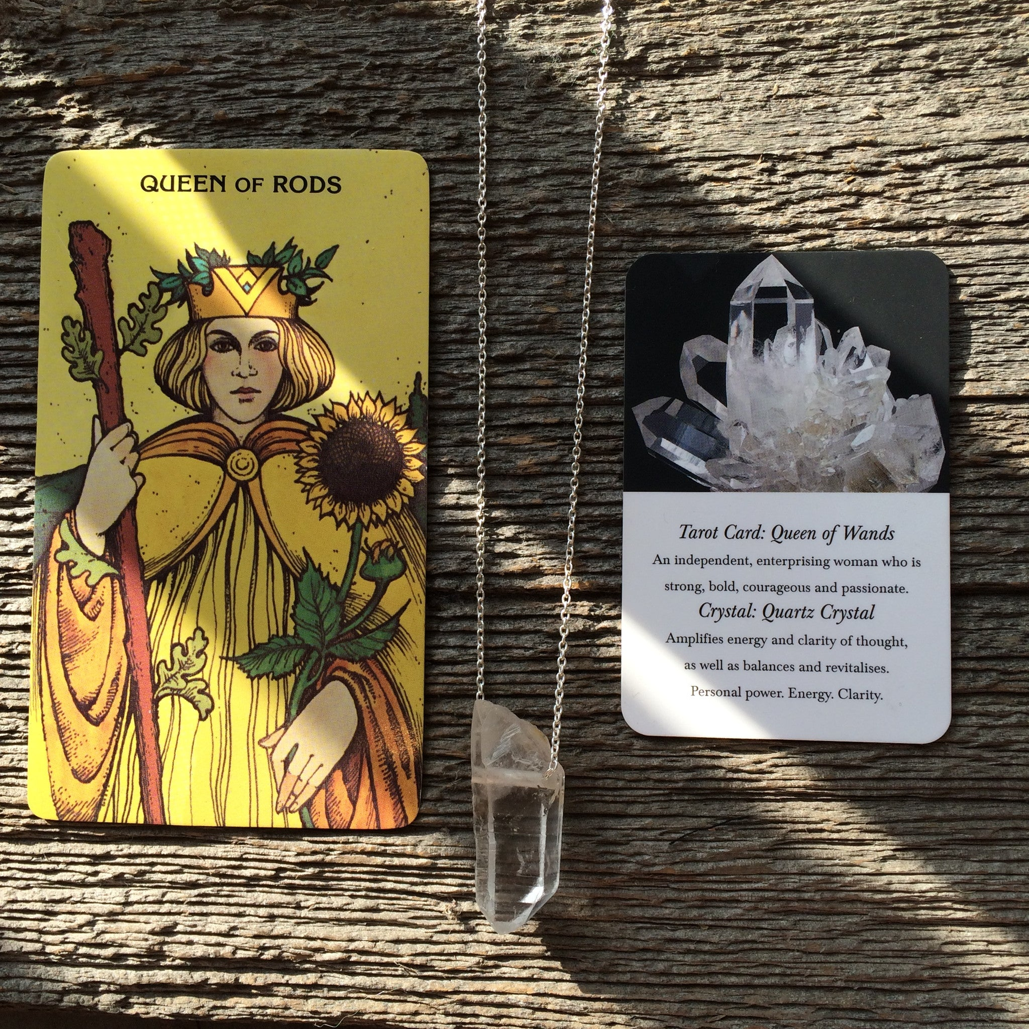 Three of Cups // Queen Of Wands/Rods Tarot Necklace Clear Quartz Crystal and Sterling Silver