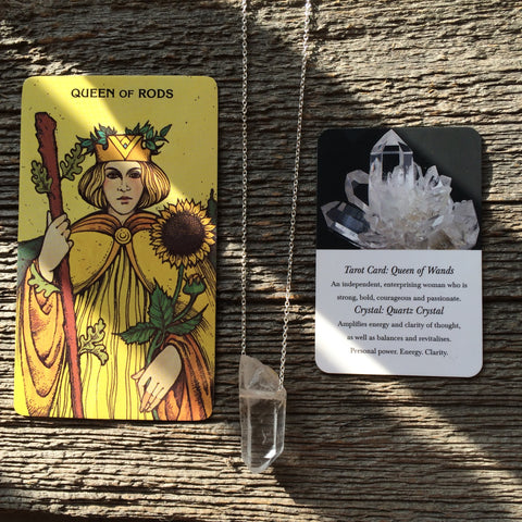 Queen Of Wands/Rods Tarot Necklace Clear Quartz Crystal and Sterling Silver by Three of Cups