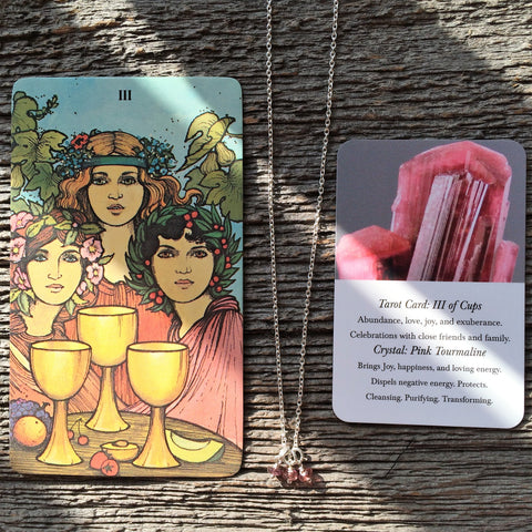 Three Of Cups Tarot Neklace Pink Tourmaline Gemstone and Sterling Silver