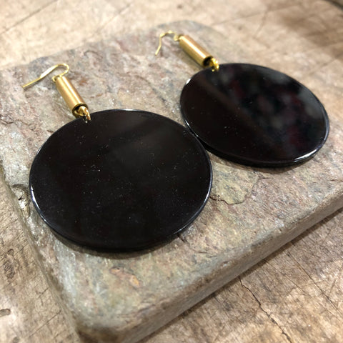 Darlings of Denmark  // Brass Acrylic Earrings Black