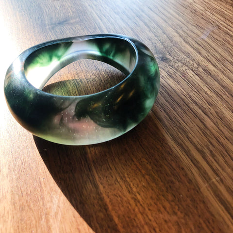 Elk Australia // Green Marbled Chunky Bangle