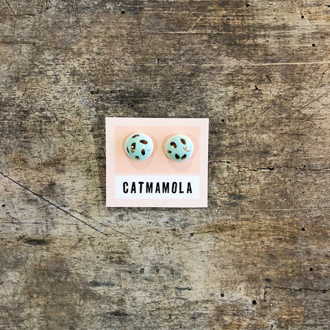 Catmamola // Ceramic Stud Earrings Green