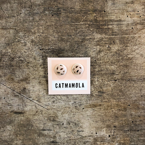 Catmamola // Ceramic Stud Earrings Black