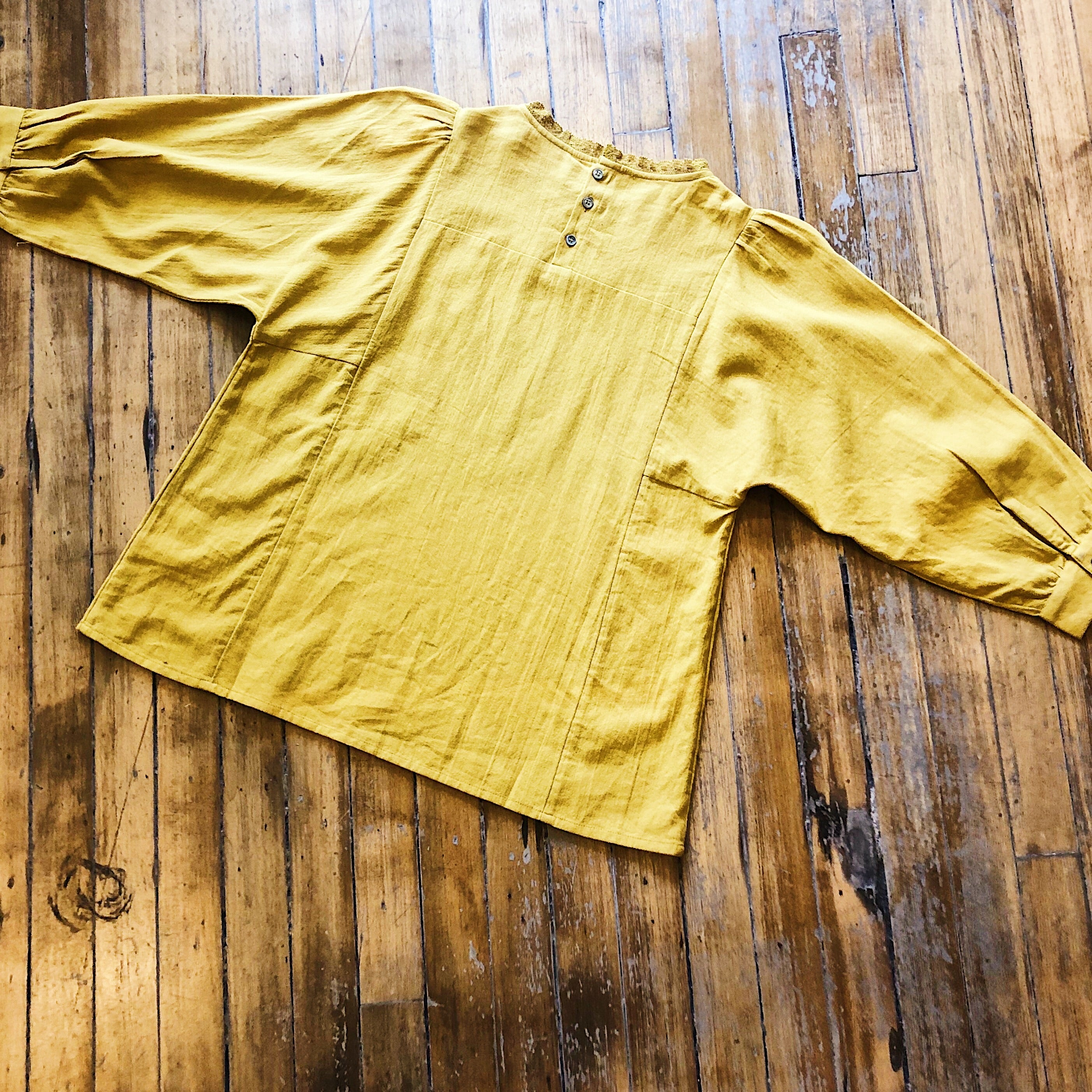Indi & Cold // Mustard Embroidered Blouse