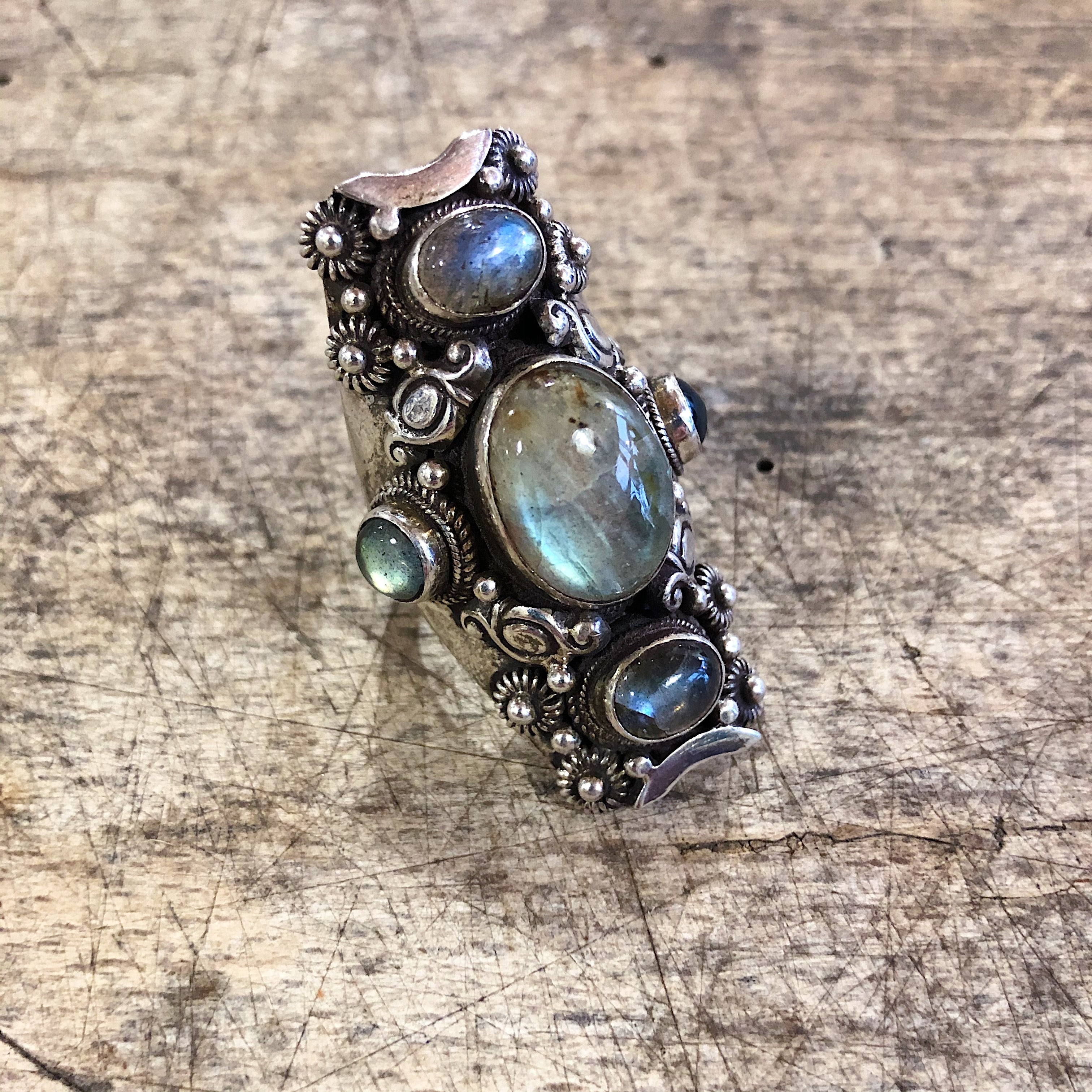 Kailas // Sterling Silver and 5 Stone Labradorite Ring
