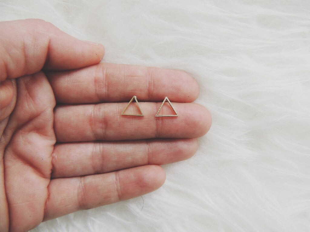 White Feather Design // Triangle Stud Earrings