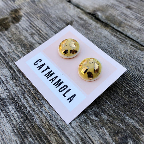 Catmamola // Ceramic Stud Earrings Yellow