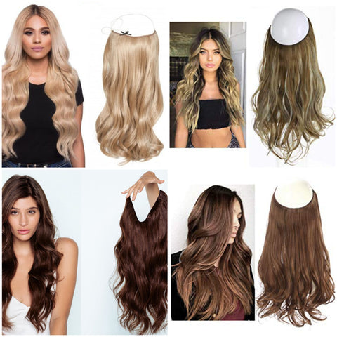 """Hairwigs4u Halo Invisible Flip in Non-remy human hair 16-24""""-All colors 60-85 gram"""