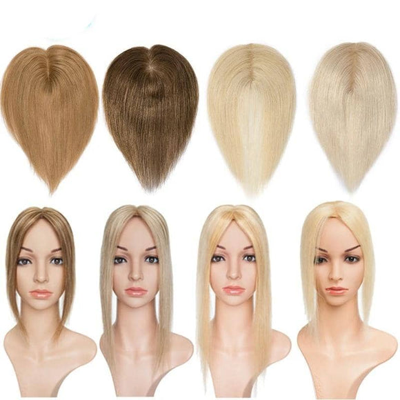 6 Inches 6x9cm Straight Silk Base Brazilian Hair Topper Non-Remy Human Hair Pure Colors Double Knots