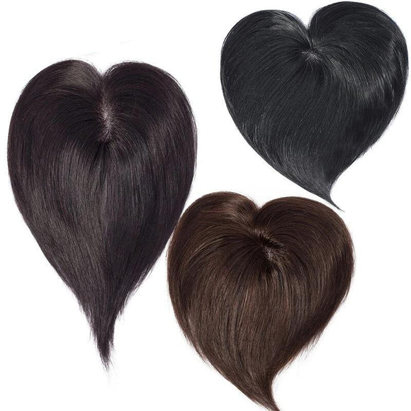 6 Inches 7x8cm Straight Mono Base Hair Topper Indian Non-Remy Human Hair #2 #1 & 1B Color
