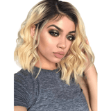 "Bob Cut Black Roots Ombre Blonde 150% Density With Baby Hair 8-16"" -HH"