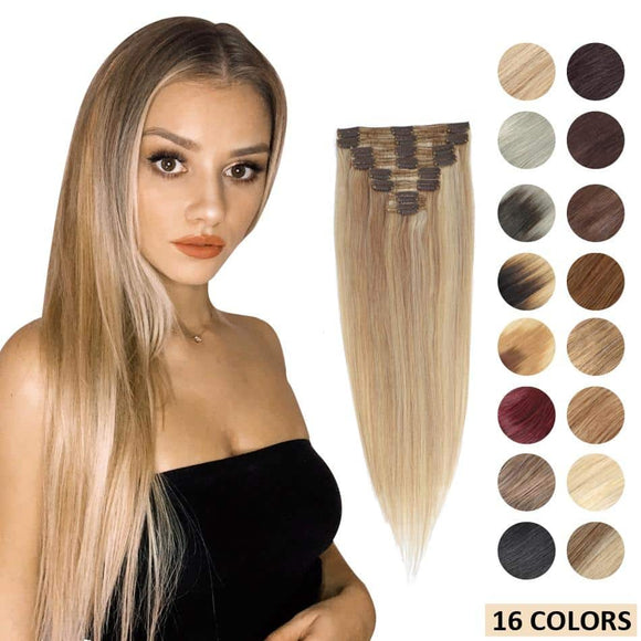 Clip In Human Brazilian Remy Hair 120-160 gram 8pc Set Full Head 14 to 22