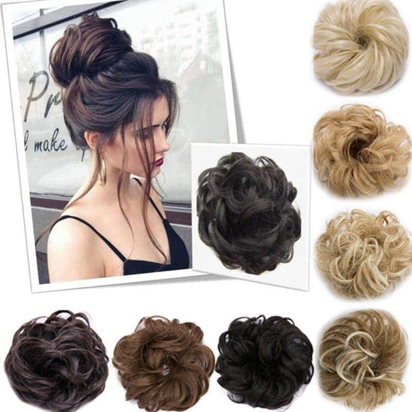 Curly Messy Bun Hair Scrunchie 100% Human Hair