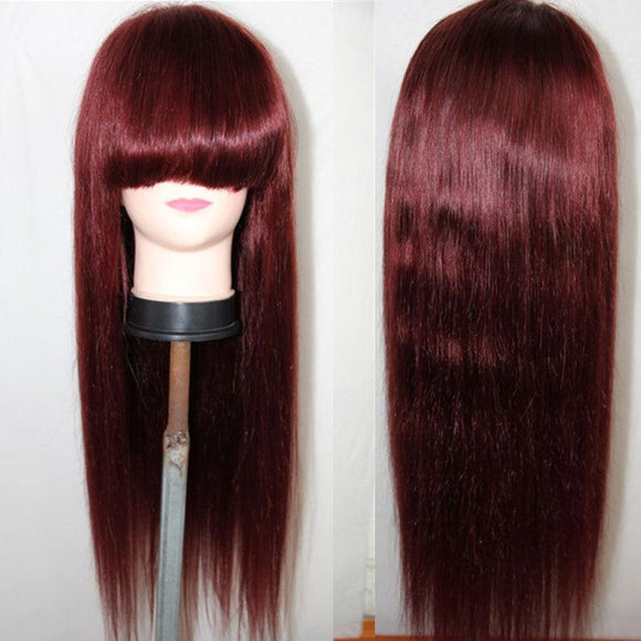 Dark Wine Brazilian Straight Lace Front Wig with Bangs Rmy Hair 99j 13x6 Pre Plucked