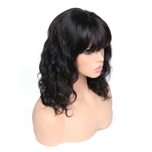 "Lace Front Wig Natural Wave Brazilian Remy Hair 8-20 "" Bangs/Fringe"