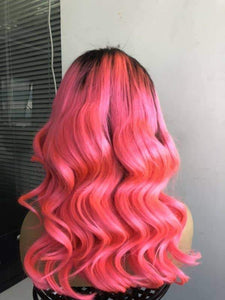 "16""Pink Ombre Lace Front/Full Lace Wig Natural Wave 100% Human Hair -HH"