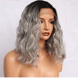 "Full Lace Silver/Grey Ombre Huma Hair Wig 16"" with Natural Wave -HH"