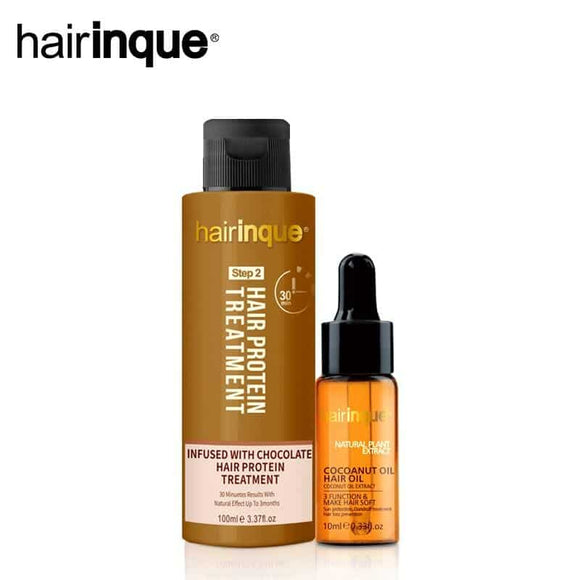 HAIRINQUE chocolate brazilian keratin hair treatment & coconut oil set