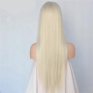 Hand Tied Blonde Long Straight High Temperature Heat Resistant Glueless Synthetic Front Lace Wig-S