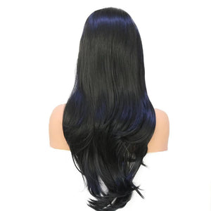 Hand Tied Natural Long Wavy Black Glueless High Density Synthetic Lace Front Wig-S