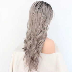Hand Tied Ombre Grey Trendy Natural Long Wavy Synthetic Lace Front Wig Heat Resistant-S