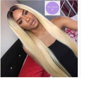 Silky Straight Brazilian Human Hair Lace Wig Blonde Ombre 26 Inch
