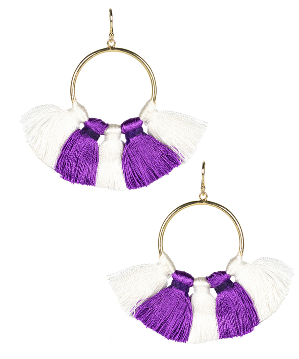 Izzy Earring - Purple and White