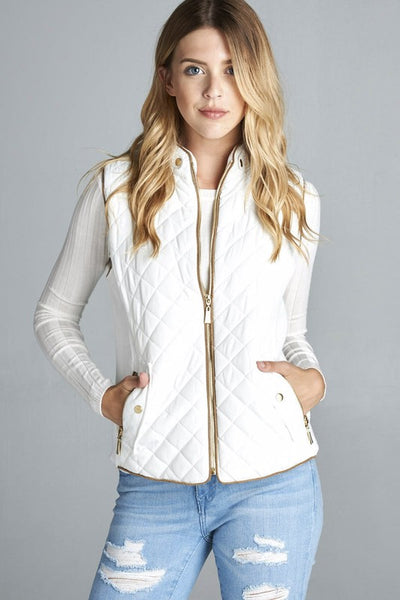QUILTED VEST WHITE