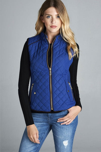 QUILTED VEST ROYAL BLUE