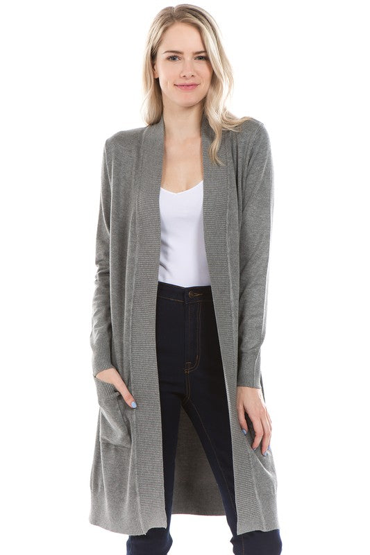 LONG CARDIGAN HEATHER GRAY
