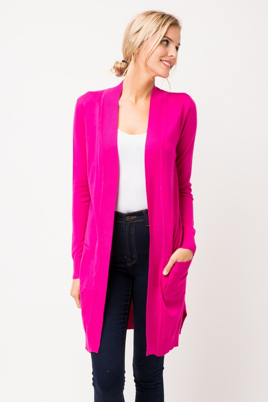 LONG CARDIGAN HOT PINK