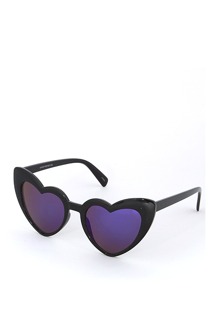 HEART SUNGLASSES BLACK MIRROR