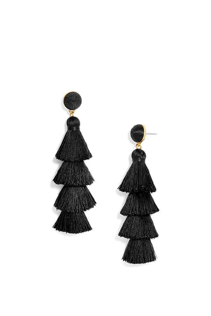 GABRIELA STUD TASSEL EARRINGS BLACK