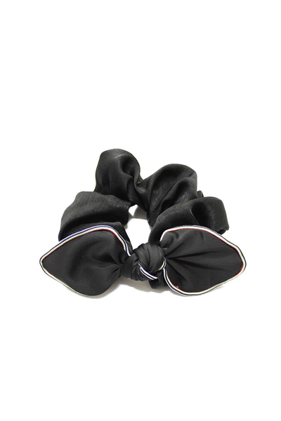 SILKY SCRUNCHIE WITH BOW BLACK