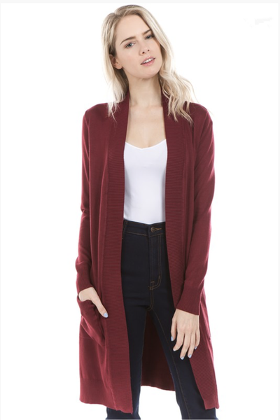 LONG CARDIGAN BURGUNDY