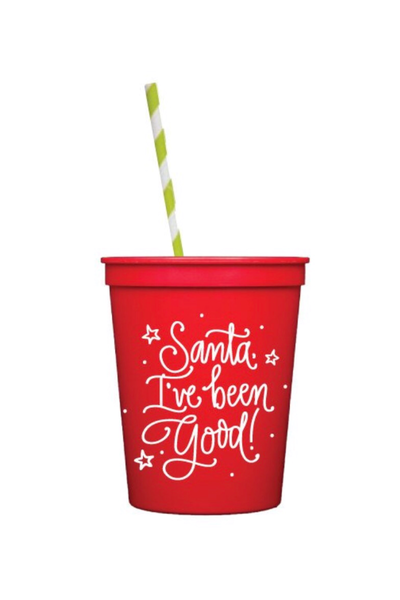 SANTA, IVE BEEN GOOD KIDS CUPS WITH LIDS