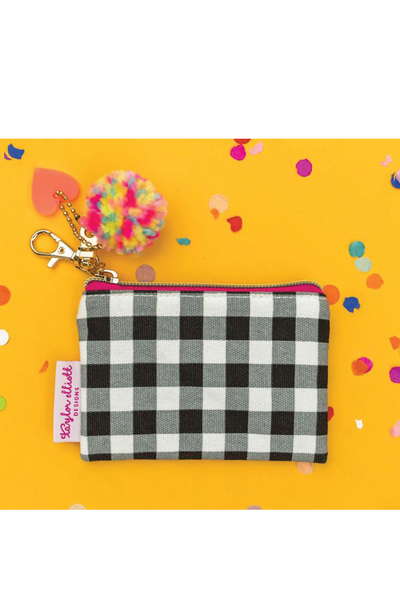 MIINI BLACK GINGHAM CARD HOLDER KEYCHAIN