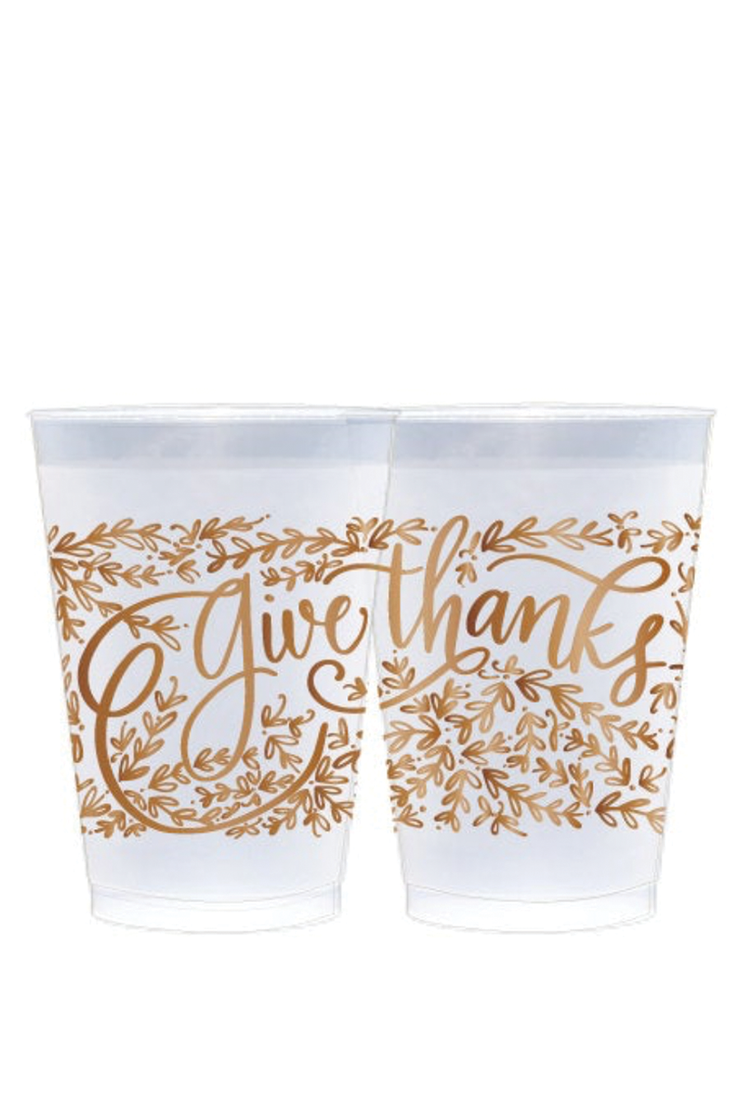 GIVE THANKS FROSTED REUSABLE CUPS COPPER