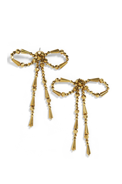 NICOLETTE BOW DROP EARRINGS GOLD